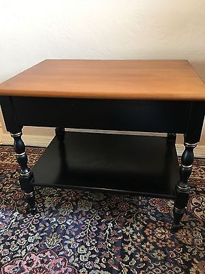 Vintage Hitchcock Black and Maple Lamp End Table