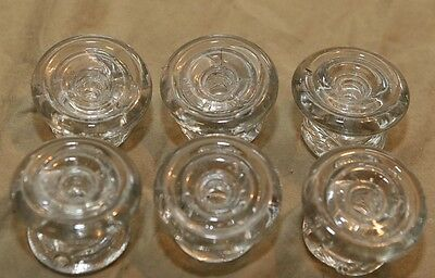 "6 Antique Primitive 2"" Clear Glass Architectural Hardware Furniture Drawer Pulls"