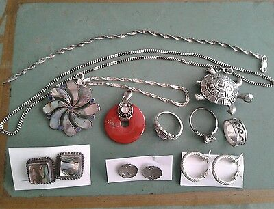 Vintage Sterling Silver Jewelry Lot Rings Earrings Bracelets & Pin