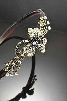 Antique Gold Flower DecorMetal Smoky Gray Color Black Crystal Hair Band Headband