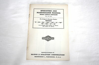 Briggs & Stratton Model B series Operating & Maintenance Manual & Illust. Parts