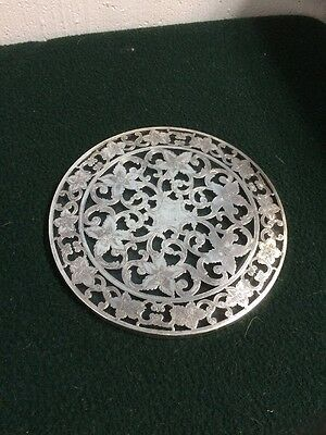"Vintage Webster Sterling Silver And Glass 6"" Art Nouveau Trivet"