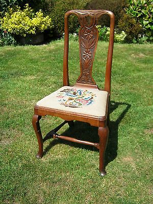 Georgian Dining Chair - Oak - Carved Back - Tapestry Seat