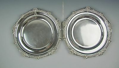 Antique Pair of Odiot France .950 Sterling SIlver Charger/Dinner Plates 41 Ozt