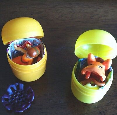 2 x  KINDER SURPRISE EGG SHELLS WITH TOYS INSIDE
