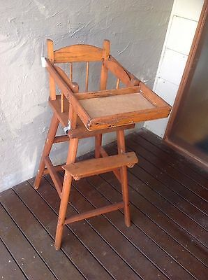 Vintage smaller wooden timber baby high chair
