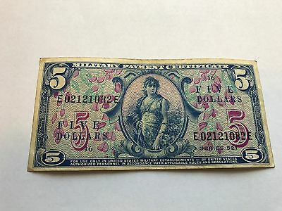 US Military Payment Certificate 5 Dollars Series 521