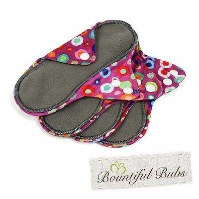 Reusable, Washable, Organic Bamboo Cloth Pads. 4 pack. Sml. Bountiful Bubs. dt