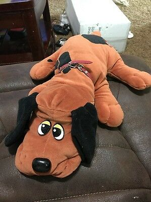 """Vintage Pound Puppies Puppy Plush 18"""" Large Brown Black Spots With Collar"""