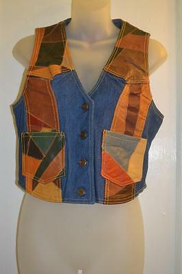vintage 70s ROCKSTAR  hippie patchwork LEATHER n DENIM Top  VEST  m L