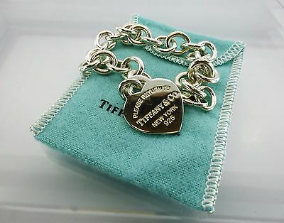 Authentic Tiffany & Co Silver Heart Return To Tag Charm 925 Bracelet