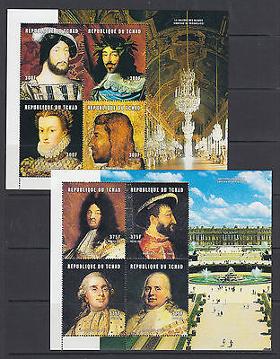 Chad Sc 911-914 MNH. 2001 French Royalty and Rulers, cplt set of 4 sheets, VF