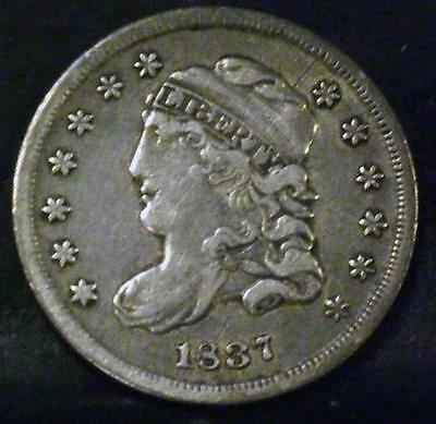 1837 Jr-5 Small Date Large 5 Capped Bust Half Dime Id#mm345