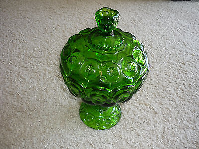 Green Glass Lidded Compote/ Moon & Star Pattern*