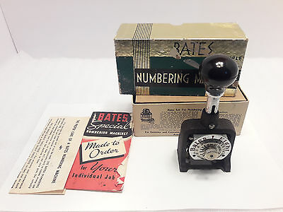 Vintage Bates 6 Wheel A Style Eight Movement Numbering Machine w/ Box