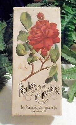 Vintage Early Peerless Soft Cream Chocolates Box Vict Graphics Red Rose Lace