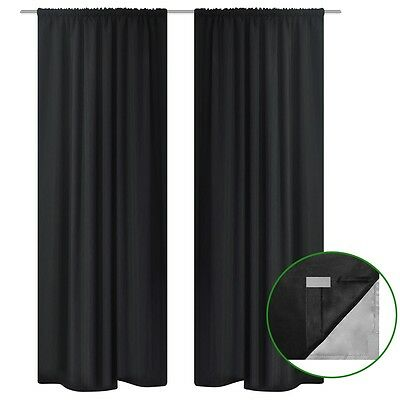 Black Blockout Curtains Double Layers Room Darkening Drape 140x245cm 2 Panel