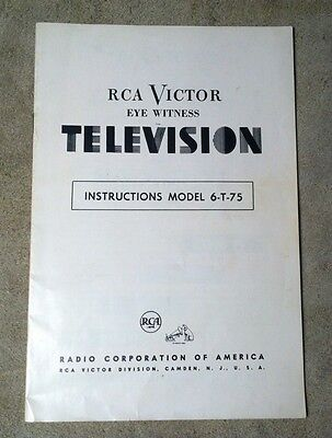 1950 RCA Victor Eye Witness Television Model 6-T-75 Instruction Booklet
