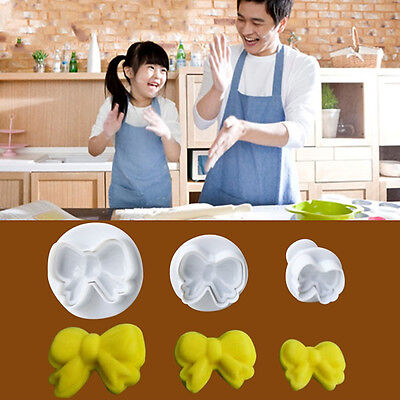 3x Bow Knot Plunger Sugarcraft Cake Cookies Decorating Fondant Icing Cutter Tool