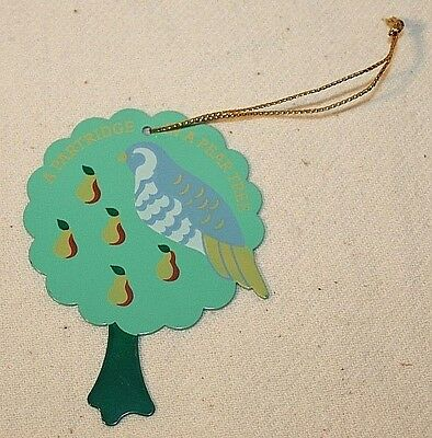 Avon 12 Days of Christmas Metal Ornament - Partridge In A Pear Tree
