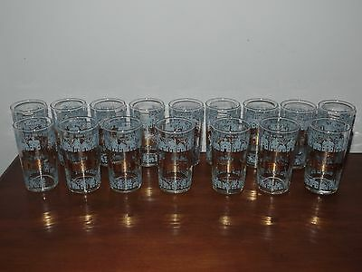 16 Vtg Mid Century Blue Gold Village House Home Town Tumblers Glasses
