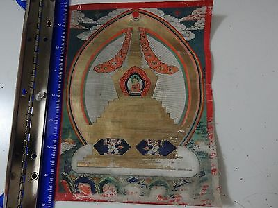 Antique  Mongolian Buddhist Thangka  Painting Of A  Stupa