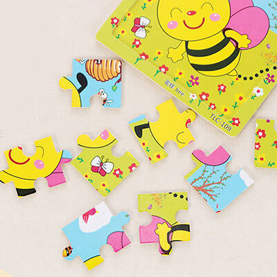 Hot Wooden Animal Puzzle Jigsaw Cartoon Baby Kids Educational Learning Tool Toy