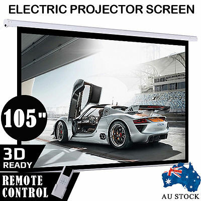 """105"""" Projector Screen Electric Motorised Home Theatre 3D Projection Remote Ctrl"""