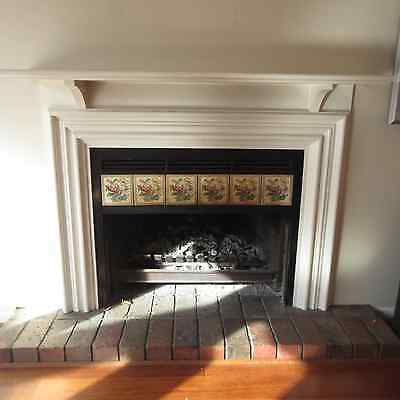 Fireplace Mantel, White Timber With Floral Tiled Surround, 43A
