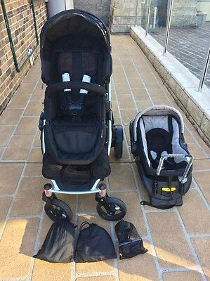 Steelcraft Strider Plus 4 wheel stroller, with second seat and car capsule
