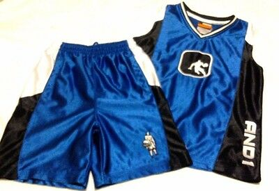 AND1 Boy's Outfit, Shorts/Tank top, Blue/Black, size M 5/6