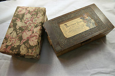 Antique lot French fabric lace filled box 1920s victorian wood millinery ribbon