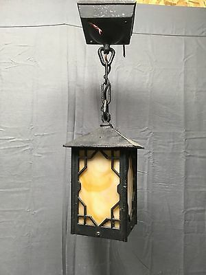 Vtg Arts Crafts Cast Iron Porch Ceiling Light Fixture Caramel Slag Glass 361-17E