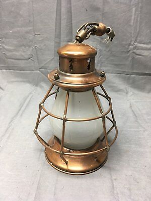 Vtg Mid Century Arts Crafts Copper Porch light Lantern Frosted Glass 362-17E