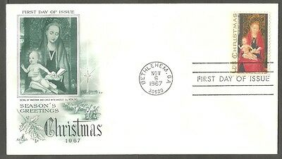 Us Fdc 1967 Christmas Memling 5C Stamp Art Craft First Day Of Issue Cover