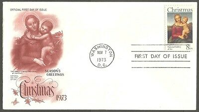 Us Fdc 1973 Christmas 8C Stamp Raphael Art Craft First Day Of Issue Cover