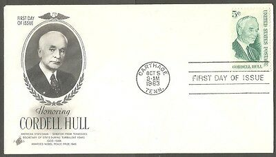 Us Fdc 1963 Cordell Hull 5C Stamp Art Craft First Day Of Issue Cover Carthage Tn
