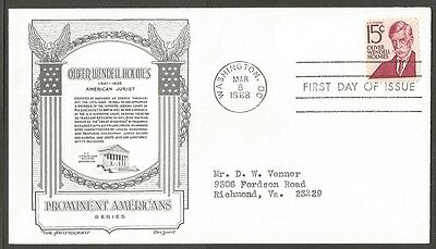 Us Fdc 1968 Oliver Wendell Holmes 15C The Aristocrats D Lowry First Day Of Issue