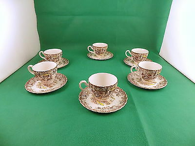 Johnson Bros Coaching Scenes Cups & Saucers x 6