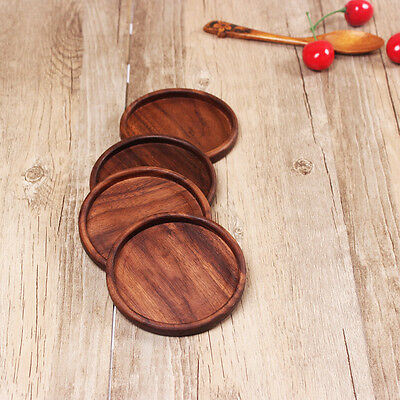 New Arrivals 6 pcs/lot Solid wood Coaster Natural walnut wood -Round with border