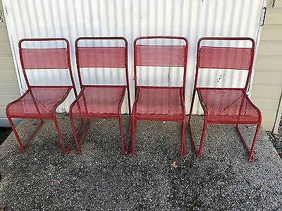 Chairs - set of 4 Industrial old Railway chairs - metal