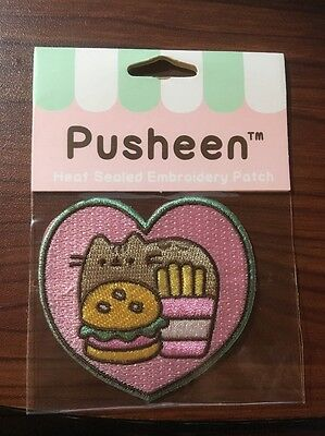 Pusheen The Cat Food Heart Embroidery Iron-On Patch
