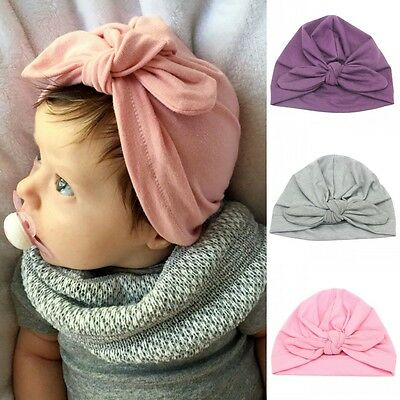 Cute Kids Toddler Turban Knot Rabbit Ear Hat Baby Girls Bow Bunny Ear Cotton Cap