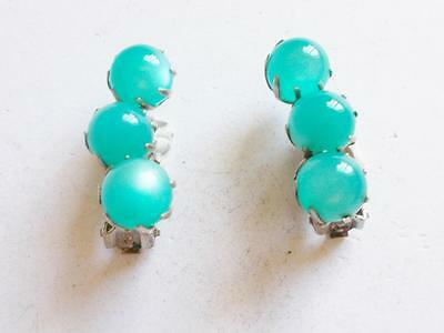 Vintage 1940's Teal Blue Moonglow Lucite Bead Silver Tone Clip On Earrings
