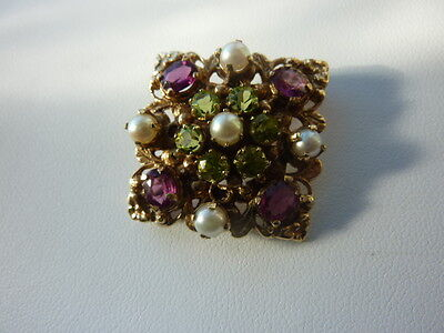 Beautiful Solid HM 9ct Gold Brooch Peridot Pearl Amethyst Suffragette