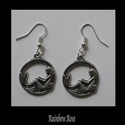 Earrings #168 Pewter MERMAID in CIRCLE 22mm SILVER TONE