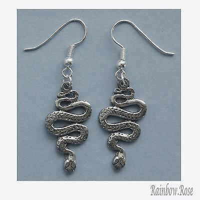 Earrings #201 Pewter Snakes (30mm x 15mm) Snake