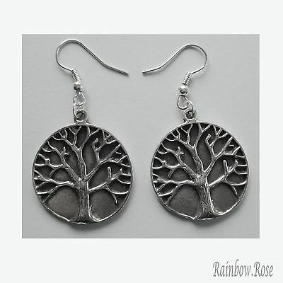 Earrings #159 Pewter TREE OF LIFE (25mm) SPIRITUAL KNOWLEDGE Silver Tone