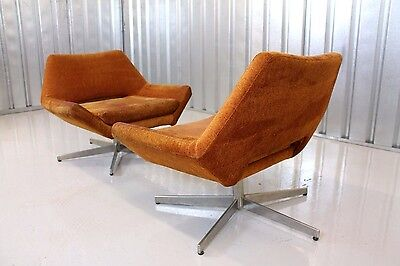 Vintage Retro Mid Century Pair Of Orange Upholstered Danish Space Age Arm Chairs