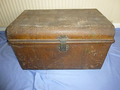 Vintage Collectable Large Metal Storage Trunk . Metal Chest With Carry Handles